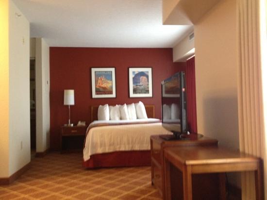 Residence Inn Richmond Northwest/Short Pump: Bedroom area of queen studio with swivel flat screen tv