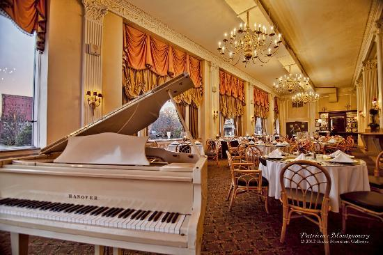La' Marie's: White baby grand piano