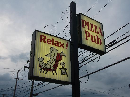 Pizza Pub's sign on Main Street - can't miss it!