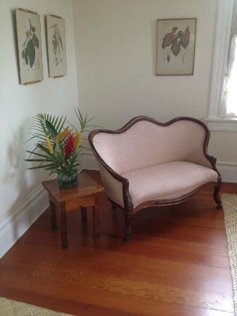 Shipman House Bed and Breakfast Inn: lovely tropical plant & loveseat in Aunt Carrie's room in main house, Shipman B&B