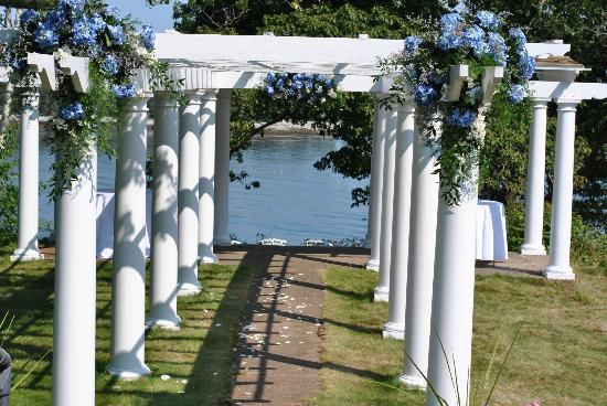 """The Mooring Bed and Breakfast: """"Pergola"""" on lawn where we got married"""