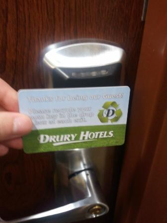 Drury Inn & Suites Orlando: The key reminds you to recycle