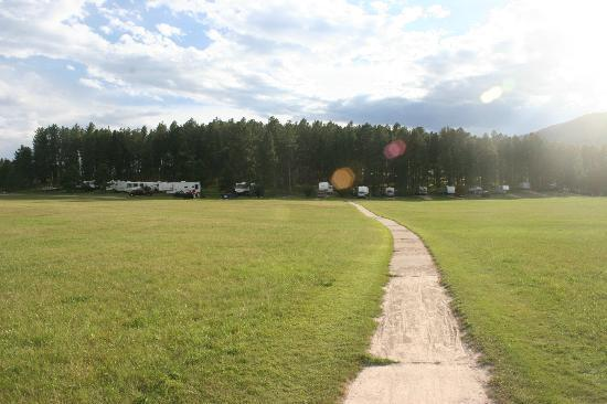 Rafter J Bar Ranch Campground: View from playground to our RV site