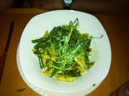 Eden: Pasta with Pesto Sauce (string beans, sun dried tomatoes, garlic, and shoots of some kind) OVER