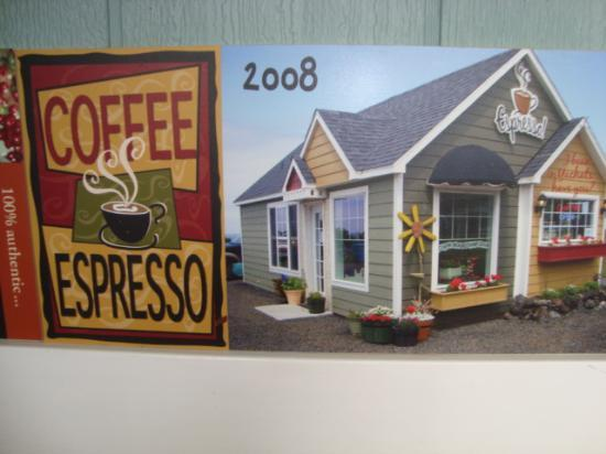 The Village Bean Coffee Shop: Poster inside of the 2008 changes to coffee shop.