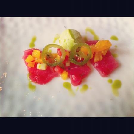 Primland: Ahi tuna w/ pickled jalapeño & cucumber sorbet