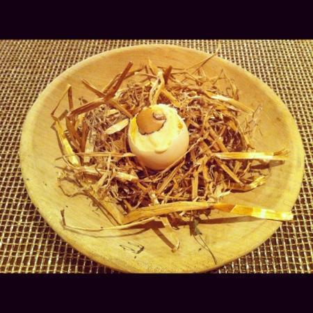 Primland: Duck egg w/ cauliflower Parmesan purée & truffle