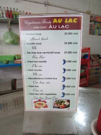 Com Chay Au Lac 2: One side of the menu.