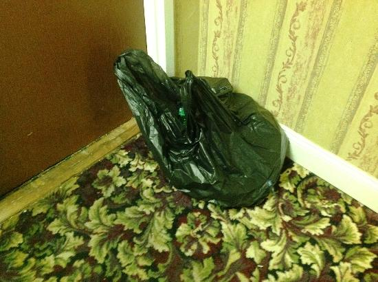 Europa Hotel: 3 days, so far, this garbage bag sat in the hall outside a room s