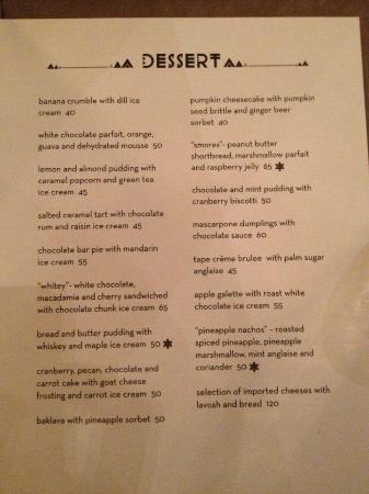 Skye Restaurant Menu