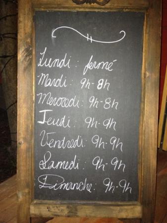 Biscotti & Cie : Les heures d'ouverture en haute saison
