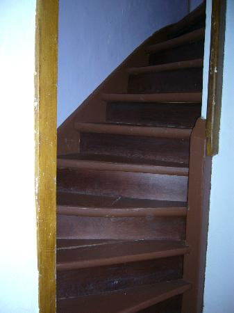 Guesthouse Basel : Staircase to the basement shower.