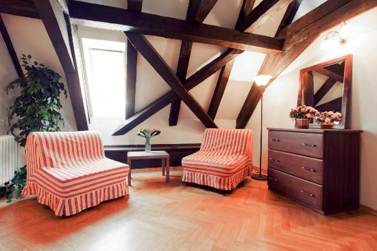 Residence Thunovska 19: Our attic apartments have original timbers and wonderful views.