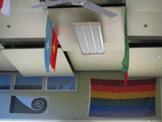 YHA Wellington: rainbow flag n others