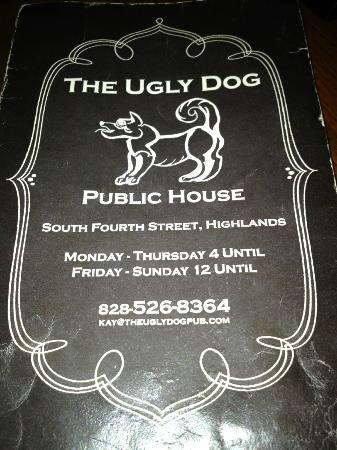 The Ugly Dog Pub: Menu cover