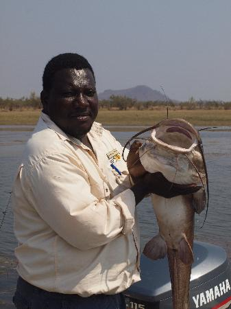 Bumi Hills Safari Lodge & Spa: Max fishing guide with 20lb vundu, safely released