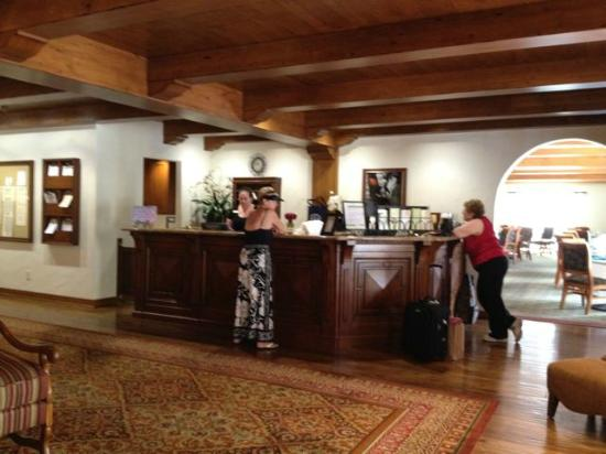The Oaks at Ojai: front desk, formal dining room beyond