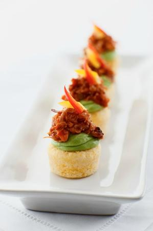 Lazy Gourmet: Smoky Pulled Pork with Avocado Mousse on Spicy Cornbread