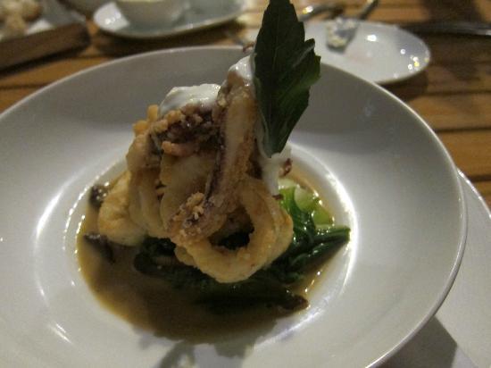 Maritime Parc : 1st course: Squid w/ shiitakes, bok choy, thai basil in shrmp broth with a dollop of lime yogurt