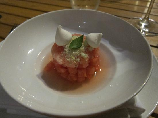 Maritime Parc: Dessert: Watermelon granita on moscati d'asti, peppermint leaf, lime meringue