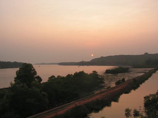 Morjim Beach: View from Chapora Bridge towards Morjim Point.