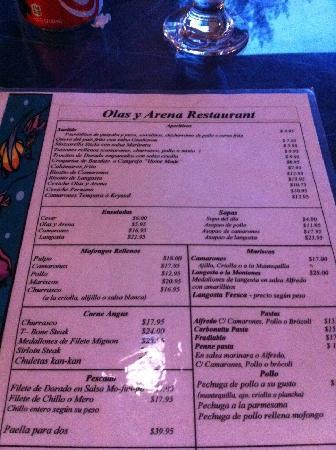 Olas y Arena Restaurant: Menu