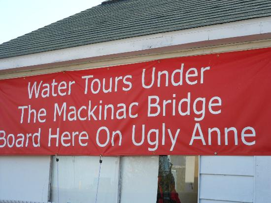 Ugly Anne Boat Cruises: The sign from the front of the building.