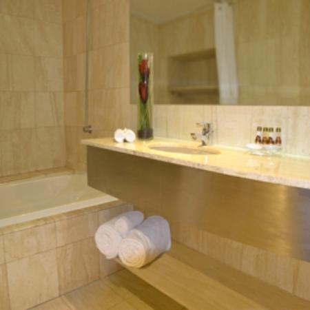 Boulevard Suites: Baño, cubierta de marmol en todas las suites.