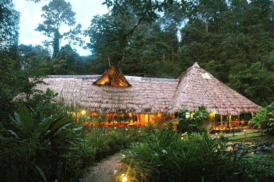 Esquinas Rainforest Lodge: The main  lodge at dusk