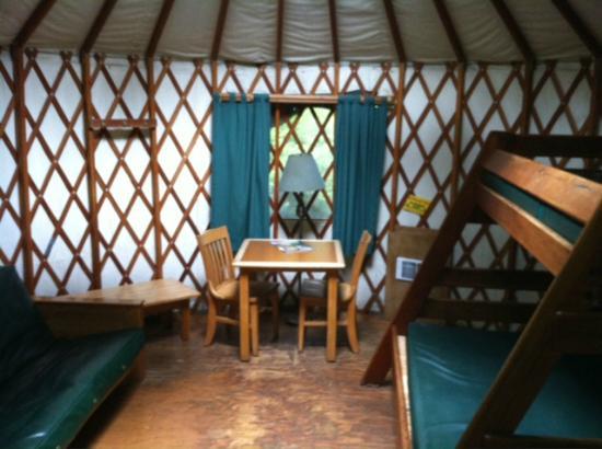 Jessie M. Honeyman Memorial State Park: Inside of the Yurt