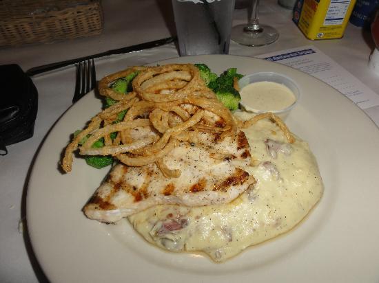 Big Fish Grill : grilled swordfish, onion rings, mashed potatoes & broccoli
