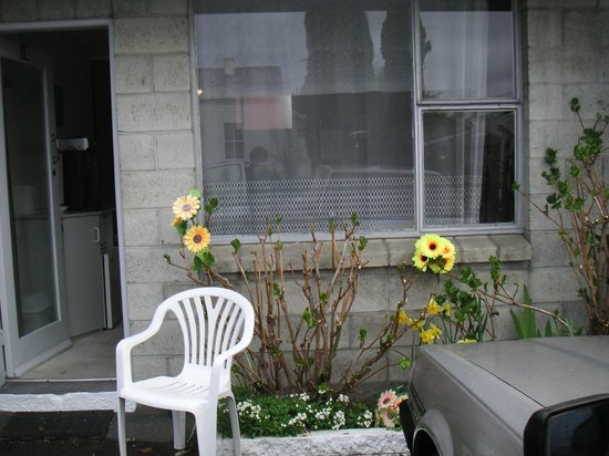 Taihape, Nya Zeeland: plastic garden flowers outside my unit