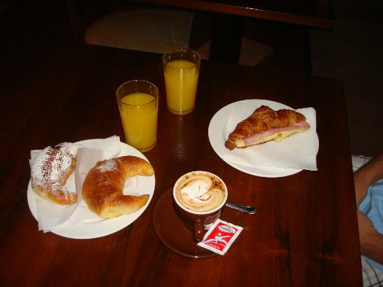 Robiglio: pastry and cappuccino and orange juice for breakfast