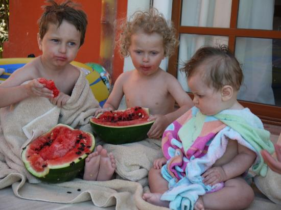 Jungle Aqua Park: my boys enjoying watermelon