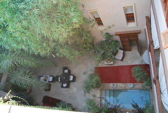 Riad Flam: vista desde la terraza patio inferior