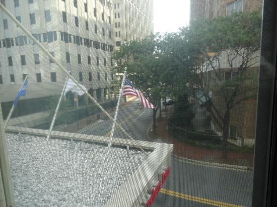 Hilton Garden Inn Washington DC / Bethesda: Street view from our room overlooking American flag.