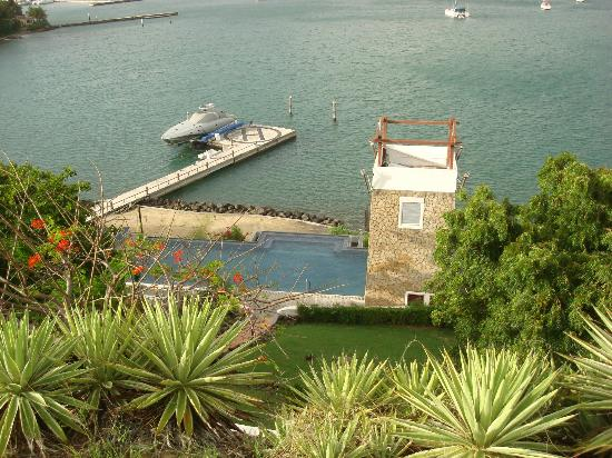 Mount Hartman Bay Estate: View from the Rose Suite -- looking down at the pool area