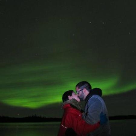 North Star Adventures: Us Kissing Under The Northern Lights In Yellowknife,  NT, Canada
