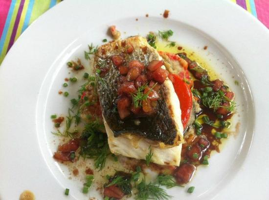 Jean Marc Villard's Cooking Class - Day Classes: Main course Sea Bass on baked & grilled vegtables with olive oil dressing & herbs.....Yummy.