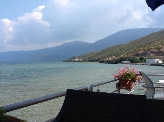 Tushemisht, Albania: view from the terrace of hotel looking towards border with macedonia