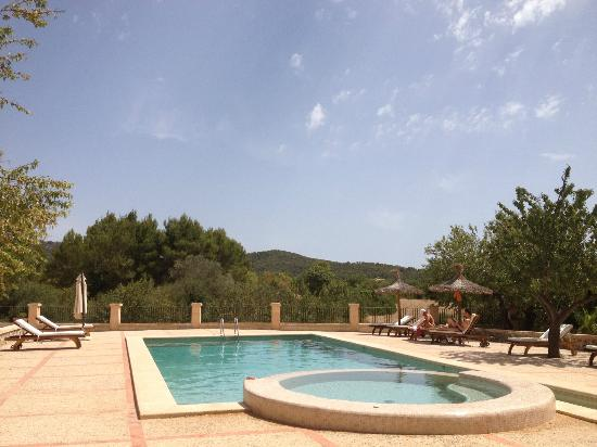 Can Estades: View from my sunbed - the pool is empty much of the time!