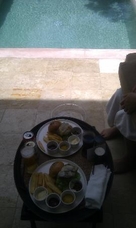 Room service angus burgers by the pool