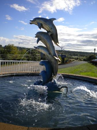 Holiday Inn Express Mystic: dolphin water fountain