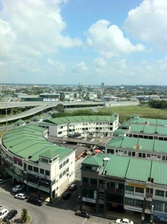 Century Kuching Hotel: view from the 8th floor. One can find cheap hawker food there.