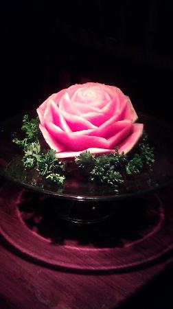 My Lime Cuisine: water melon flower carved by our exc. chef for all reviewers