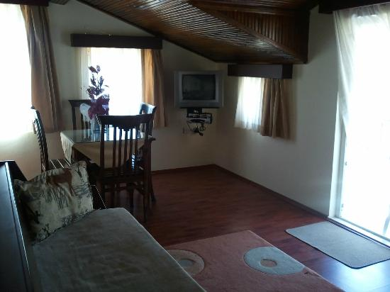 Safari Suit Hotel : 1-bed apartment: lounge with dining table and behind the corner a small kitchenette