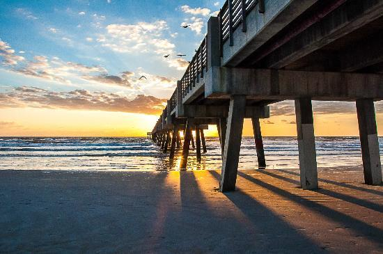 Jacksonville Beach Fl Pier At Sunrise