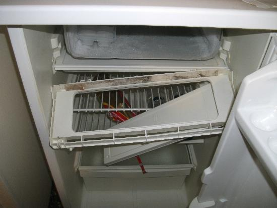 Pension Vrissi: Broken and dirty shelf in the freezer