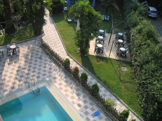 Villa delle Rose : Looking down at the hotel pool.