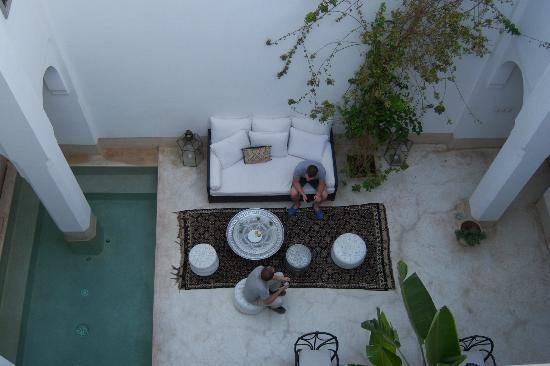 Riad Snan13 : A view from the terrace of the downstairs lounging area.